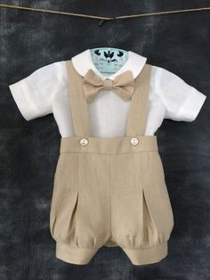 baby Linen Blessing Day Outfit, Toddler Christening Suit, Child's Baptism Outfit, Linen Sailor Shirt