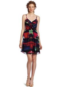 Jessica Simpson Women's Ruffle Front Spaghetti Strap Dress, Prism Firecracker, 8 for $128.00