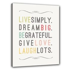 Live Simply Inspirational Quote Wall Decor Canvas by ANCHORandVINE, $40.00