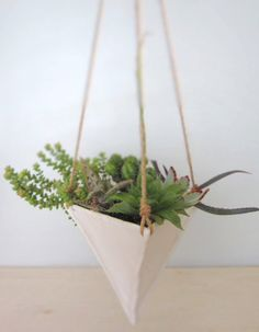 White Porcelain Hanging Trianglular Planter  Large  by ebenotti, $50.00