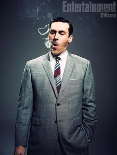 "Here you have a picture of a man smoking from the hit show ""Mad Men."" Smoking has been a symbol of masculinity since the World Wars. I think it is a false sense of masculinity. Smoking doesn't make you anymore masculine. It only makes you sick and filled of tar."