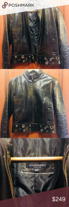Alessandro Italian leather moto jacket Industrial leather jacket with metal grommet details and brushed bronze finish. Beautiful structure and heavy, high-quality leather. Made in Italy, women's size 42 = US size 6. Alessandro Jackets & Coats