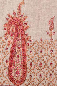 Pure Cashmere Brown Pashmina Hand Embroidered: The Last Moghul Scarf or Wrap Pashmina Wrap, Cashmere Pashmina, Pashmina Shawl, Embroidery On Clothes, Embroidery Patterns, Hand Embroidery, Blue Carnations, Paisley Art, Kashmiri Shawls