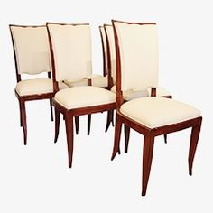 Set of Six 1930s Art Deco French dining chairs