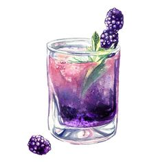 Blackberry whiskey smash #watercolor #illustration #cocktails #foodillustration #artoftheday #blackberries