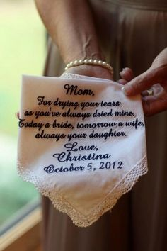 Thank-You Gifts for the Parents of the Bride & Groom Personalized handkerchief as a gift for mother of the bride. The post Thank-You Gifts for the Parents of the Bride & Groom appeared first on Womans Dreams. Cute Wedding Ideas, Gifts For Wedding Party, Wedding Wishes, Wedding Tips, Perfect Wedding, Our Wedding, Wedding Planning, Dream Wedding, Wedding Favors