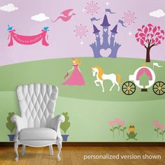 23 individual princess wall mural stencils  coordinating paint kit SOLD SEPARATELY --> VIEW personalize the banner with a custom name stencil paint your own