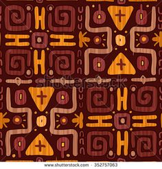 Seamless Ethnic Pattern. Checkered Tribal Shapes