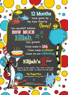 Dr Seuss Birthday Invitation OR Thank you card A No Picture Option
