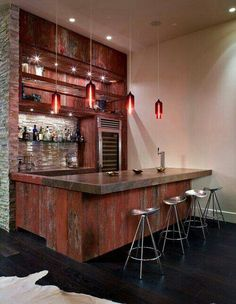 Decoration: Reclaimed Red Wood Bar Table Stone Counter And Stainless Bar  Stools Also Creative Vivacious Pendant Lights Design Ideas: Inspirational Home  Bar ...