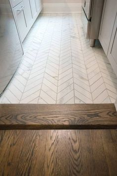 Don't' you love how perfectly paired these floorings are together? White porcelain chevron tile floor from custom wood flooring in dark walnut & Jacobean stain. - - - - Another Prewar, Jr 4 - E St, NYC Tuile Chevron, Chevron Tile, Herringbone Tile, Farmhouse Flooring, Kitchen Flooring, Kitchen Wood, Island Kitchen, Wood Flooring, Kitchen Sinks