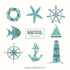 Nautical elements in blue tones Free Vector
