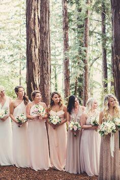 Mismatched Bridesmaid Dresses - ombre peach bridesmaid dresses