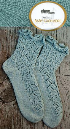 Elann Drooping Elm Socks.  Free knitting pattern.