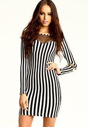 Striped Mesh Sweetheart Dress:$20.90