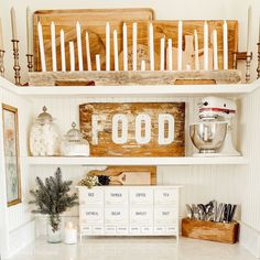Open kitchen shelving decorated with vintage neutral flea market finds and a DIY candle holder. Open kitchen shelving decorated with vintage neutral flea market finds and a DIY candle holder. Vintage Farmhouse Sink, Vintage Kitchen, Farmhouse Decor, Farmhouse Style, Kitchen Shelves, Kitchen Decor, Kitchen Ideas, Vintage Home Decor, Diy Home Decor