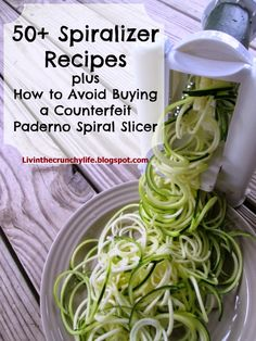 I just bought a spiralizer! 60 Paleo Spiralizer Recipes plus How to Avoid Buying a Counterfeit Paderno Spiral Slicer Clean Eating Recipes, Raw Food Recipes, Veggie Recipes, Low Carb Recipes, Cooking Recipes, Healthy Recipes, Spiral Vegetable Recipes, Spiral Slicer Recipes, Zoodle Recipes