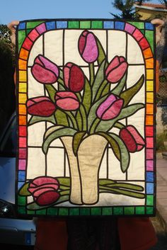 stained glass tulips in a vase