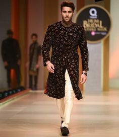 black printed wedding sherwani