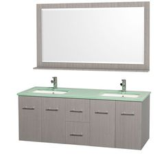"Centra 60"" Double Bathroom Vanity Set by Wyndham Collection - Gray Oak 