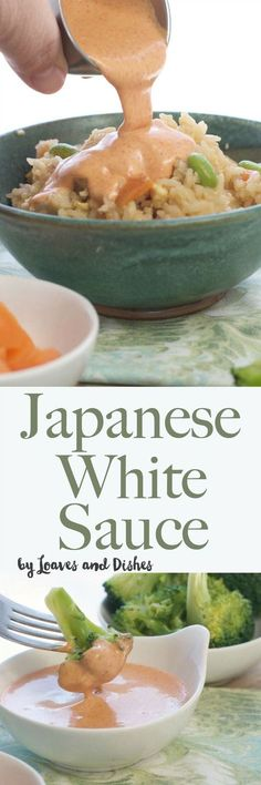 recipe for the famous Japanese White Sauce served in Japanese Steak Houses! Yum Yum Sauce, Benihana Sauce, Shrimp Sauce - you know it by many names. Homemade with garlic powder. Perfect over stir fry rice and vegetables! Recipe For Japanese White Sauce, Japanese Sauce, Sauce Recipes, Cooking Recipes, Bacon Recipes, Japanese Steak, Japanese Food, Marinade Sauce, Tempura