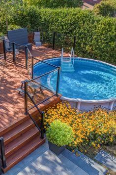 Small Backyard Pools, Above Ground Pool Landscaping, Above Ground Pool Decks, In Ground Pools, Backyard Pool Landscaping, Backyard Pool Designs, My Pool, Small Pools, Swimming Pools Backyard