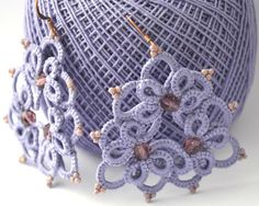 Purple amethyst beads and tatting lace Lavender by MariluCrochet