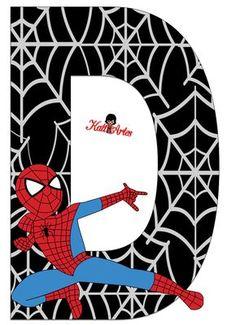 EUGENIA - KATIA ARTES - BLOG DE LETRAS PERSONALIZADAS E ALGUMAS COISINHAS: Homem Aranha - Letras e Números Spiderman Theme Party, Superhero Birthday Party, Birthday Tarpaulin Design, Deco Cupcake, Diy Birthday Banner, Black Spiderman, Party Props, Alphabet And Numbers, Letter Art