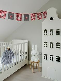Baby room bunting grey boys nursery design room room to bloom baby bunting room thermometer Grey Nursery Boy, Nursery Neutral, Nursery Room, Boy Room, Big Boy Bedrooms, Kids Bedroom, Childrens Bedroom, Miffy Lampe, Small Space Nursery
