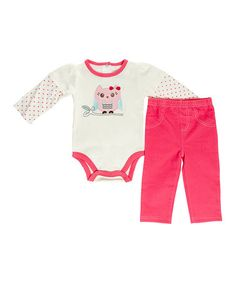 Another great find on #zulily! White & Pink Owl Bodysuit & Pants - Infant #zulilyfinds