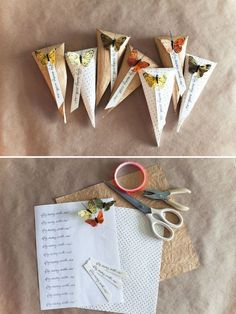 These Butterfly Wedding Cones are great for a fall or spring wedding. Fill them with rice and hand them out to guests at your wedding so they can shower you with love! These butterfly wedding favors could also be filled with little candies. Diy Butterfly, Butterfly Wedding, Diy Papillon, Homemade Gifts, Diy Gifts, Wrap Gifts, Borboleta Diy, Diy Wedding, Wedding Favors