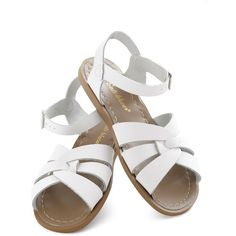 Salt Water Sandals Outer Bank on It Sandal in White ($40) ❤ liked on Polyvore
