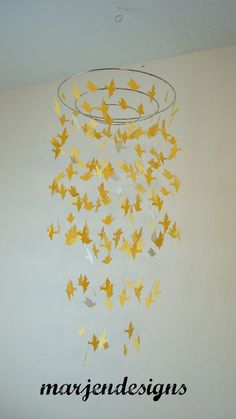 yellow bird mobile, baby crib mobile, nursery, teen room, dorm room, boy room, wedding decor, unique gift, cot mobile, party, girl room