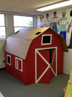 Our Wonderful Big Red Barn made with 3 refrigerator boxes. Really simple and fun! (Could also just do a fort made out of red sheets/etc. Barn Wood Crafts, Farm Crafts, Crafts For Kids, Big Red Barn, Farm Day, Farm Activities, Preschool Farm, Farm Unit, Barnyard Party