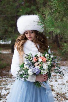 "A blue wedding gown for ""something blue"" winter wedding   fabmood.com"