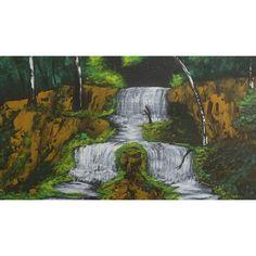 Split waterfall Hand Painting Art, Acrylic Painting Canvas, Paint Types, Custom Paint, Waterfall, Hand Painted, Artwork, Art Work, Work Of Art