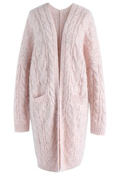 Fluffy and Shimmered Cable Knit Longline Cardigan in Pink - New Arrivals -  Retro fff87a6bd