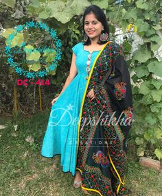 DC - Beautiful powder blue color floor length anarkali dress with black color dupatta. Dupatta with hand embroidery thred work. For queries kindly whatsapp : 9059683293 15 December 2017 Long Gown Dress, Sari Dress, Anarkali Dress, Anarkali Suits, Evening Gowns Online, Designer Evening Gowns, Designer Gowns, Kurti Neck Designs, Salwar Designs