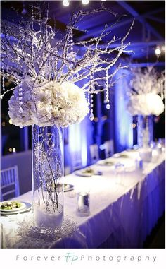 reception flowers with hanging crystals | Login/Register