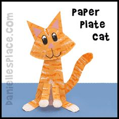 Cat Craft - Cat with Moveable Head Paper Plate Craft Craft Activities For Kids, Preschool Crafts, Projects For Kids, Kids Crafts, Craft Projects, Paper Plate Crafts For Kids, Fun Arts And Crafts, Paper Crafts, Farm Crafts