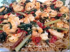 Pasta with Shrimp and Greens http://www.lindasitaliantable.com/pasta-with-shrimp-and-greens/