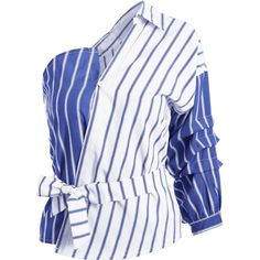 Belted Stripes One Shoulder Blouse (€13) ❤ liked on Polyvore featuring tops, blouses, zaful, stripe, white blouse, belted blouse, white top, one shoulder top and striped blouse