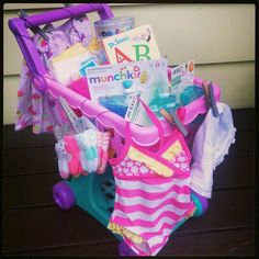 Idea for a gift basket, either for toddler or little girl. Fill up a toy plastic shopping cart or toy stroller with goodies (mix of dollar store & big box store items). Can be given as a birthday gift, holidays / Christmas.  G;)
