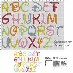 Disney colored font letters cross stitch free alphabet