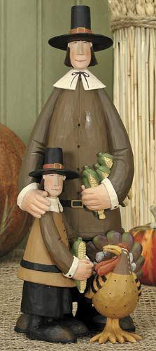 Pilgrim Father and Son Figurine – Harvest Folk Art Figurines & Thanksgiving Collectibles – Williraye Studio $15.75
