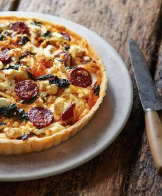 The moorish chorizo, salty feta and spinach are perfect together in this gluten-free tart.
