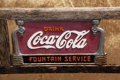 Coca Cola Screen Door Coke 7up Advertising Push Bar Old