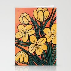 Add bright colors to any room with this cheerful Yellow Crocuses art print. This print is created from my original mixed media art. Modern Art Prints, Modern Wall Art, Yellow Crocus, Orange Background, Floral Wall Art, Botanical Flowers, Bright Yellow, Bright Colors, Mixed Media Art