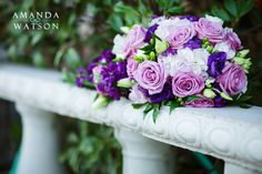 Purple and green bridal bouquet #wedding