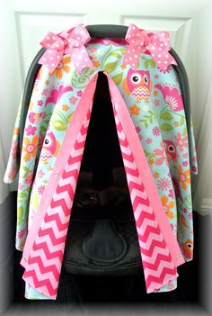 carseat canopy car seat cover owls blue pink by JaydenandOlivia